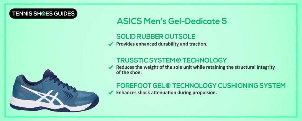 ASICS Men's Gel-Dedicate 5 specification