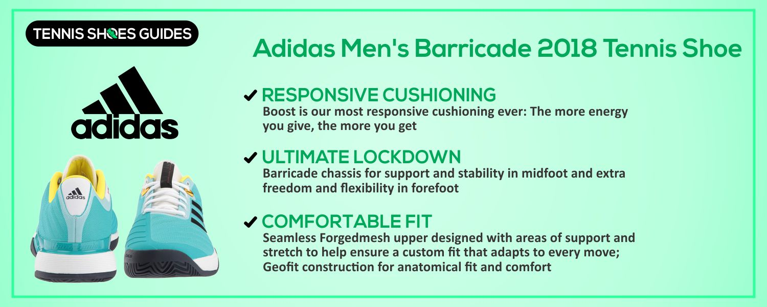 Adidas Men's Barricade 2018 Tennis Shoe details