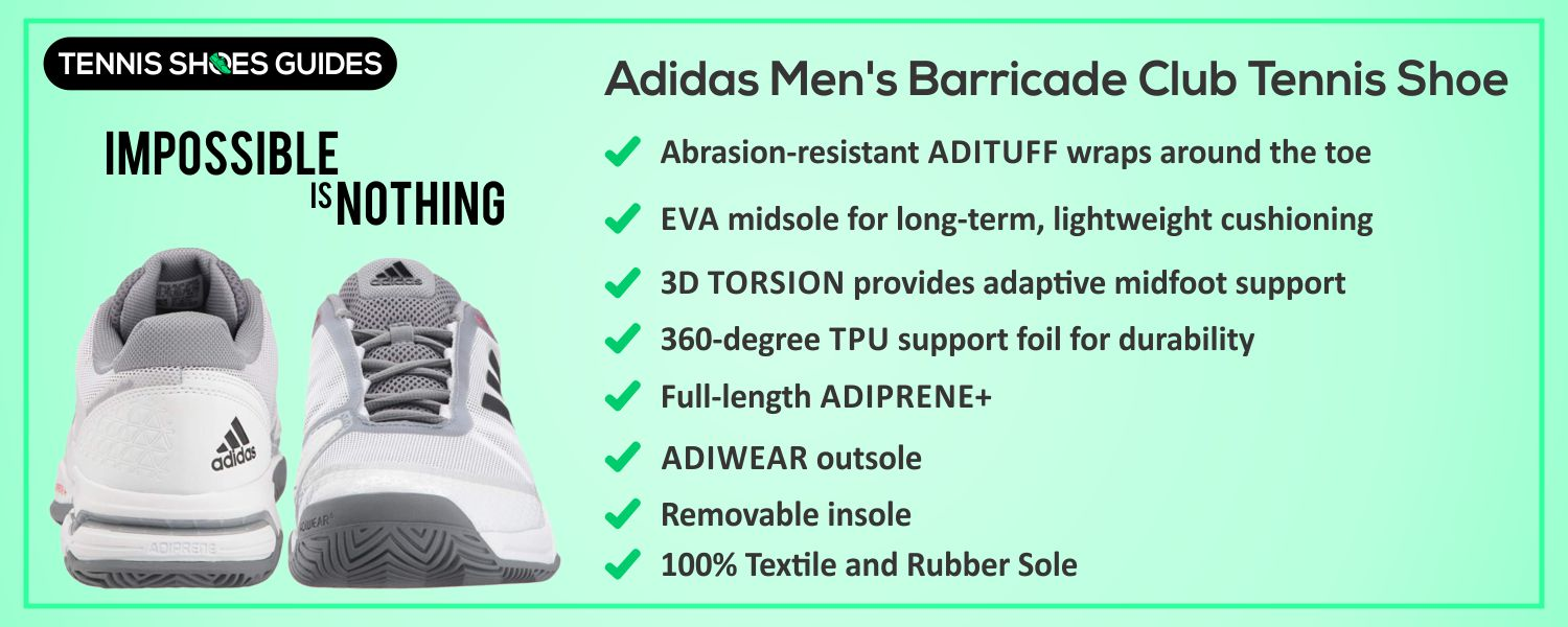 Adidas Men's Barricade Club Tennis Shoe specification