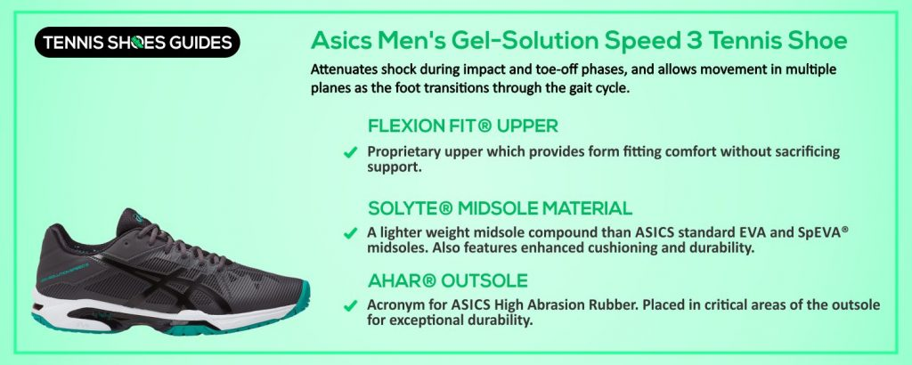 Asics Men's Gel-Solution Speed 3 Tennis Shoe specification