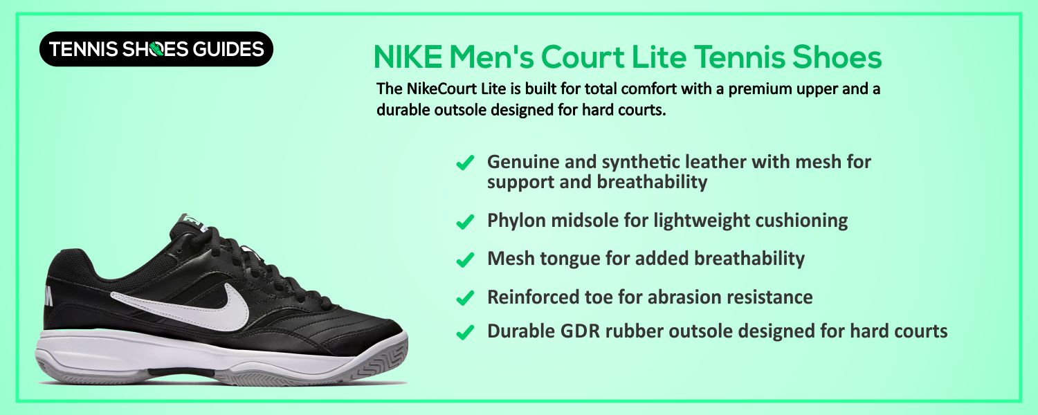NIKE Men's Court Lite Tennis Shoes specification