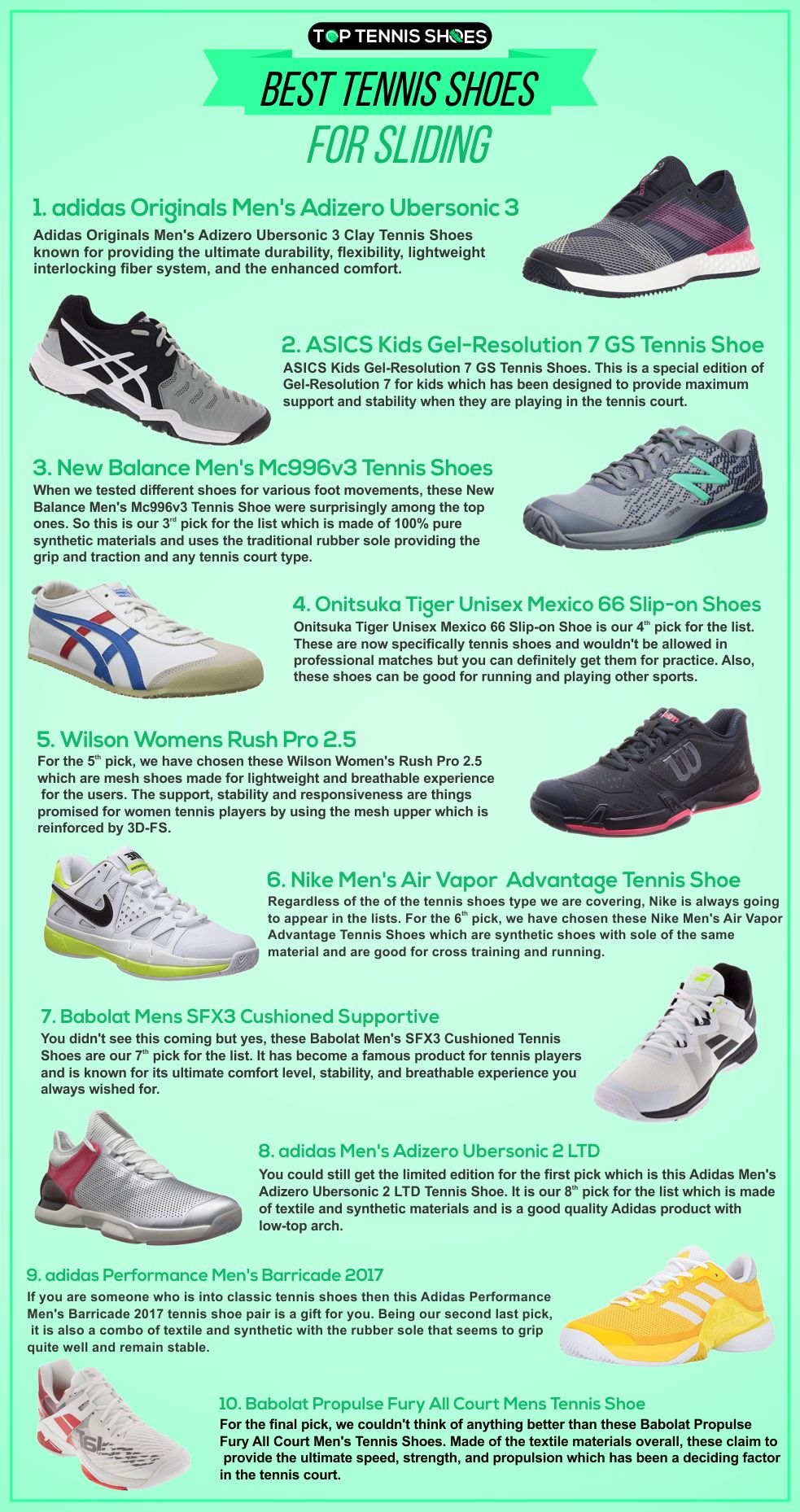 Best Tennis Shoes for Sliding Infographics